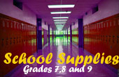 School Supplies for grades 7, 8 and 9